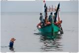 Crab girl and fishing boat