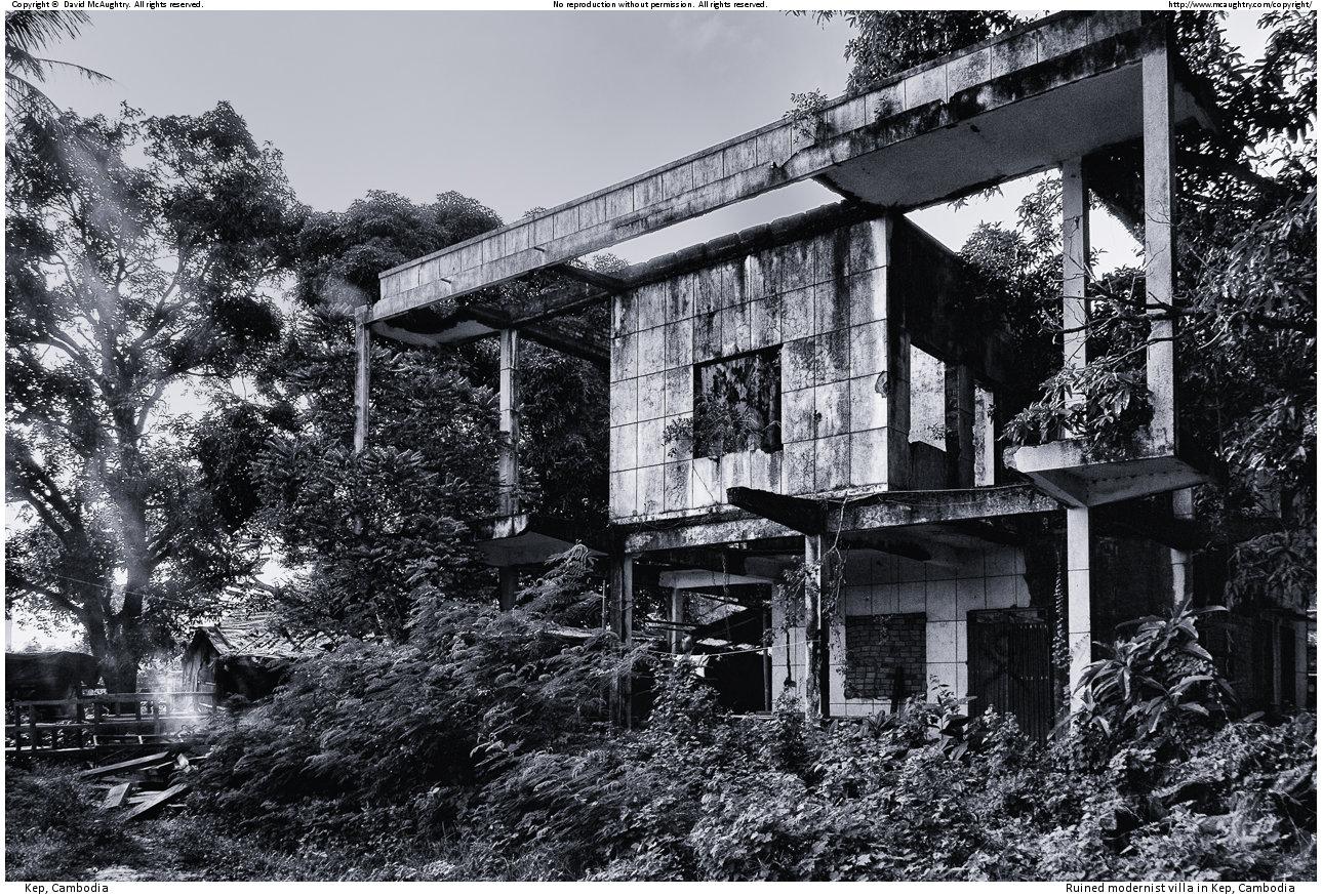 Ruined modernist villa in Kep, Cambodia
