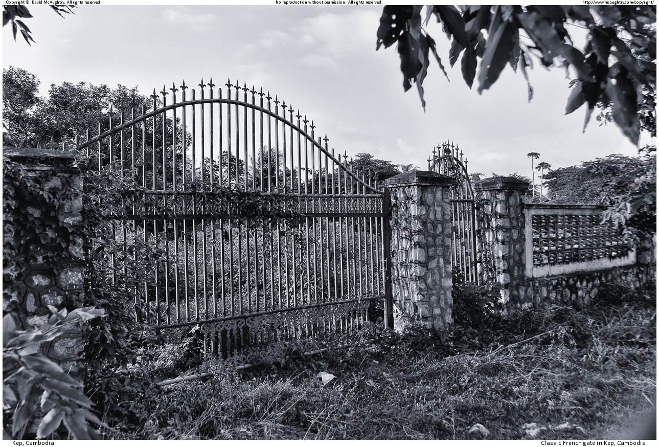 Classic French gate in Kep, Cambodia